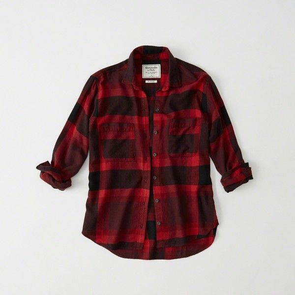 Abercrombie & Fitch Plaid Boyfriend Shirt ($58) ❤ liked on Polyvore featuring tops, red plaid, red button up shirt, red top, red button down shirt, plaid shirts and boyfriend shirts
