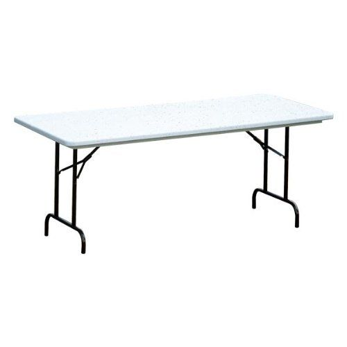 """Correll Blow-Molded Plastic Folding Table - Adjustable Height (30"""" W x 96"""" L) by Correll. $169.89. Other Info: Includes SpeedWrench for quick height adjustments. Table Shape: Rectangle. Top Material: Blow-molded polyethylene plastic. Legs: 1"""" 18-gauge steel. Glides: Mar-proof platic foot caps. Correll's Blow-Molded Plastic Folding Table resists food stains, making it a great choice for your dining area. The waterproof table has locking steel legs and a scratch-resista..."""