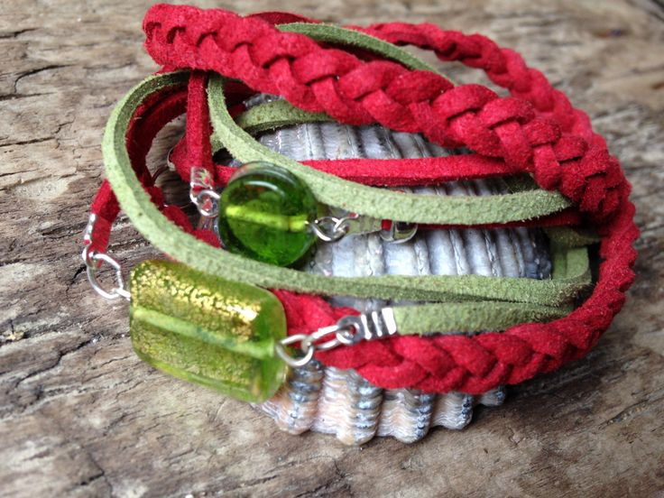Red and Green Double Wrap Leather Suede Hippie Handmade Bracelet with Glass Beads by EffyBuu on Etsy