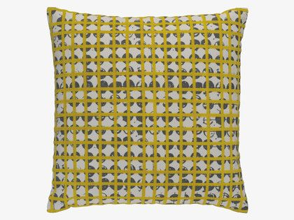 GRIDDY Yellow and grey patterned cushion 45 x 45cm