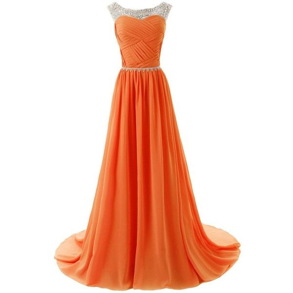 Dressystar Beaded Straps Bridesmaid Prom Dress with Sparkling... (285 RON) ❤ liked on Polyvore featuring dresses, gowns, long dresses, ball gowns, orange, beaded gown, orange dress, prom ball gowns, beaded evening gowns and prom gowns