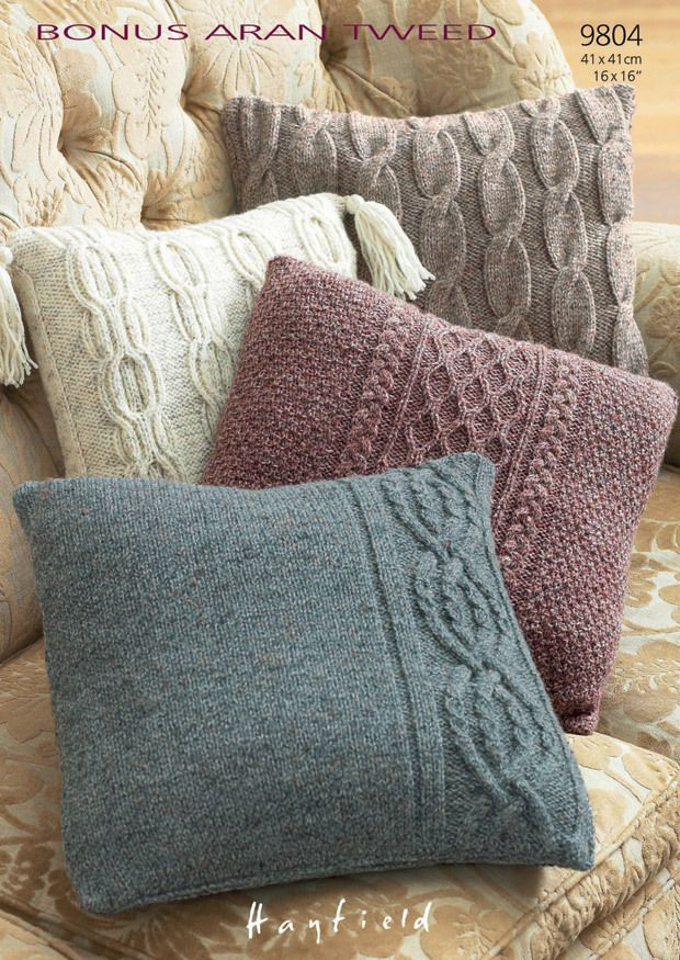 Knitting Pattern Cushion Covers In Hayfield Bonus Aran Tweed (9804)