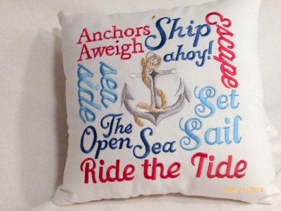 Nautical Word Pillow  Embroidered pillow  12x12 Nautical