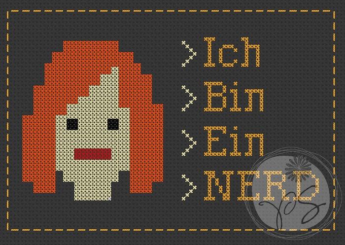The IT Crowd quote - Ich Bin Ein Nerd (Printable PDF Pattern)Bins A, It Crowd Quotes, Ein Nerd, Crowd Jennings, Printables Pdf, Crosses Stitches, Nerd Printables, It'S Me, Jennings Quotes