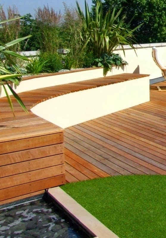 Bench and Water pool on roof garden in London