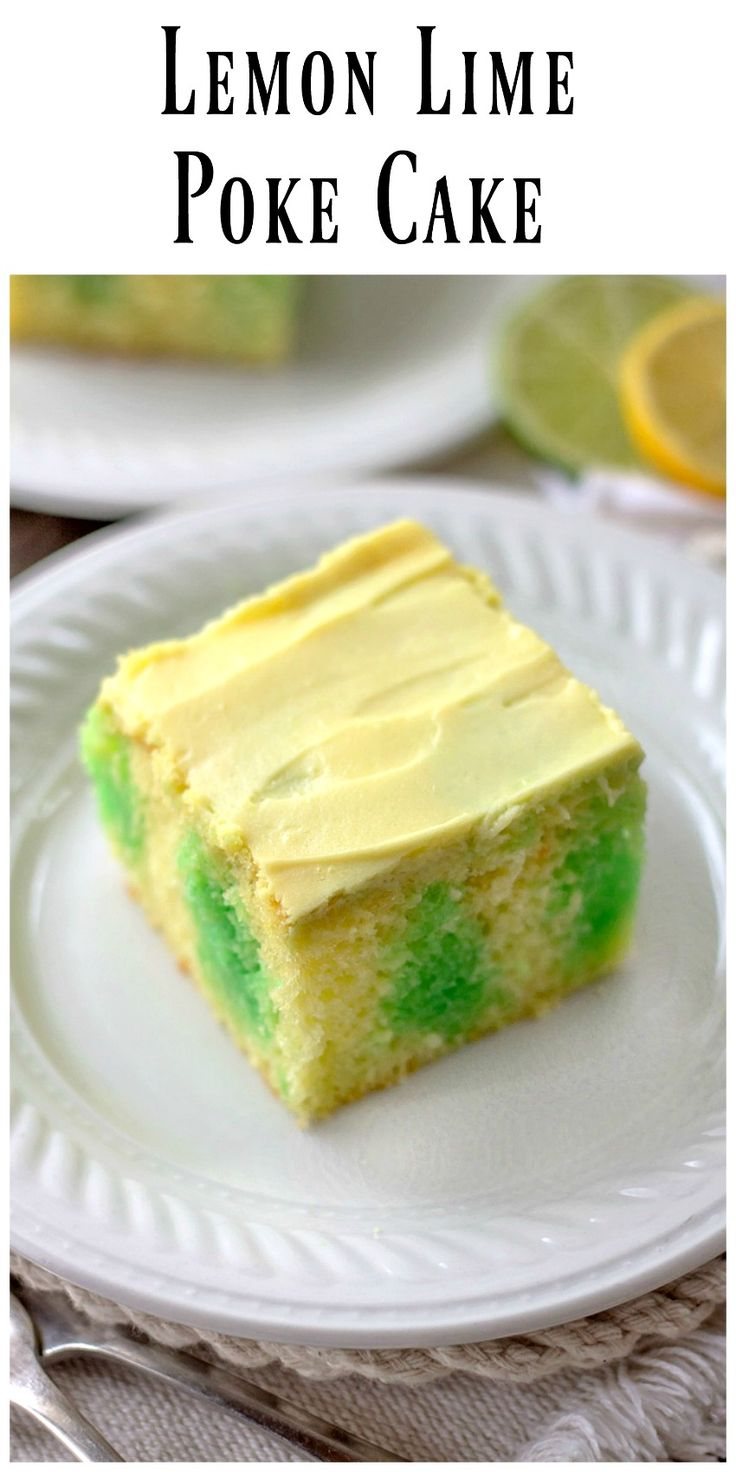 . Lemon Lime Poke Cake..two refreshing flavors together in a very easy and much loved refrigerator cake. You're going to love this old favorite, Enjoy! via @https://www.pinterest.com/BunnysWarmOven/bunnys-warm-oven/