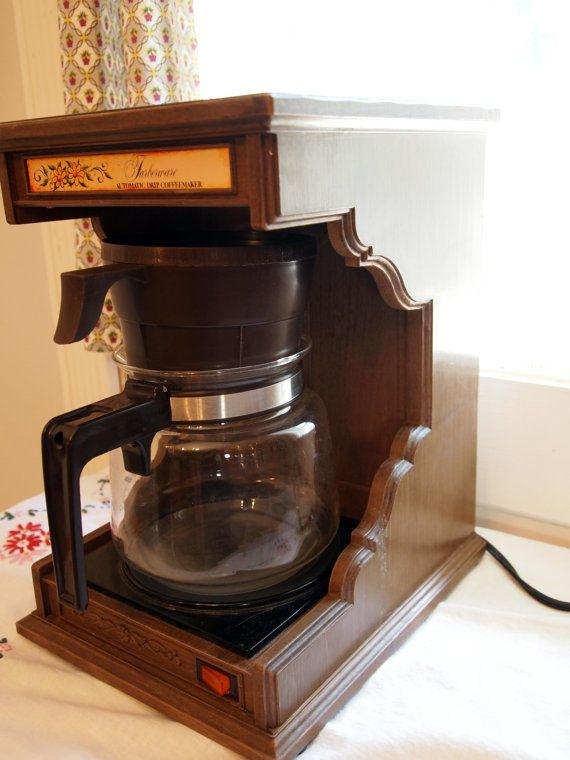 Vintage Farberware Faux Bois Coffee Maker with Glass Coffee Pot