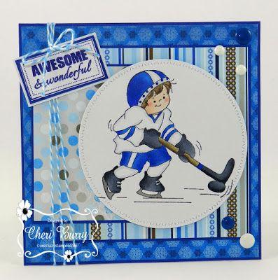 "ONECRAZYSTAMPER.COM: Gabriel Plays Hockey! by Cheri using ""Gabriel's A Hockey Player"" (SS517) & "" Sentiment Set #3"" (UU506)"