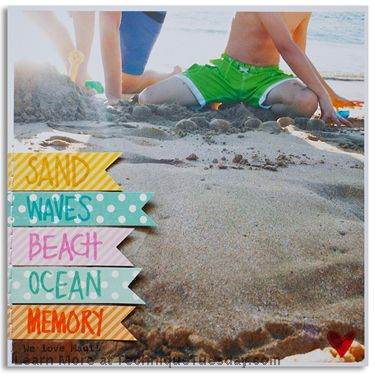 This is such a stunning scrapbook page by Linda Barber. I want to go to the beach just so I can make one like it! I sure love how she created the banners on the side and then stamped words from the Beach Time by Ali Edwards stamp set on top of them. Such a fun element!