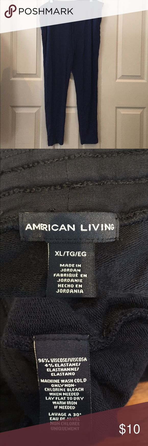 Navy extra soft everyday modern skinny sweatpants Bought for my self. They run super bug. More like a 1x. But marked xlarge./TG They drawstring waist  legs are tapered down. Almost like skinny jeans.   New with out tags.  New with out tags. Washed. Not worn american living  Pants Jumpsuits & Rompers