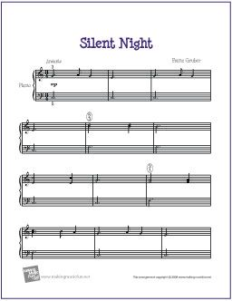 Silent Night  (Christmas) | Sheet Music for Easy Piano - http://makingmusicfun.net/htm/f_printit_free_printable_sheet_music/silent-night-piano-easy.htm