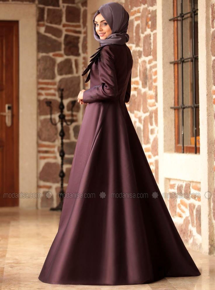 Purple - Fully Lined - Crew neck - Muslim Evening Dress - Nurbanu Kural