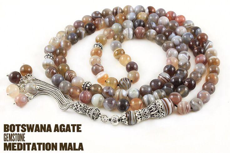Botswana Agate Mala #mala #malabeads #agate
