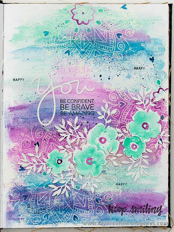 Layers of ink - Forget me not journal page tutorial by Anna-Karin. Made for the Simon Says Stamp Mothers, Fathers and Florals release blog hop. The art journal page was done in my Dina Wakley Media Journal and colored with Ranger Scribble Sticks.