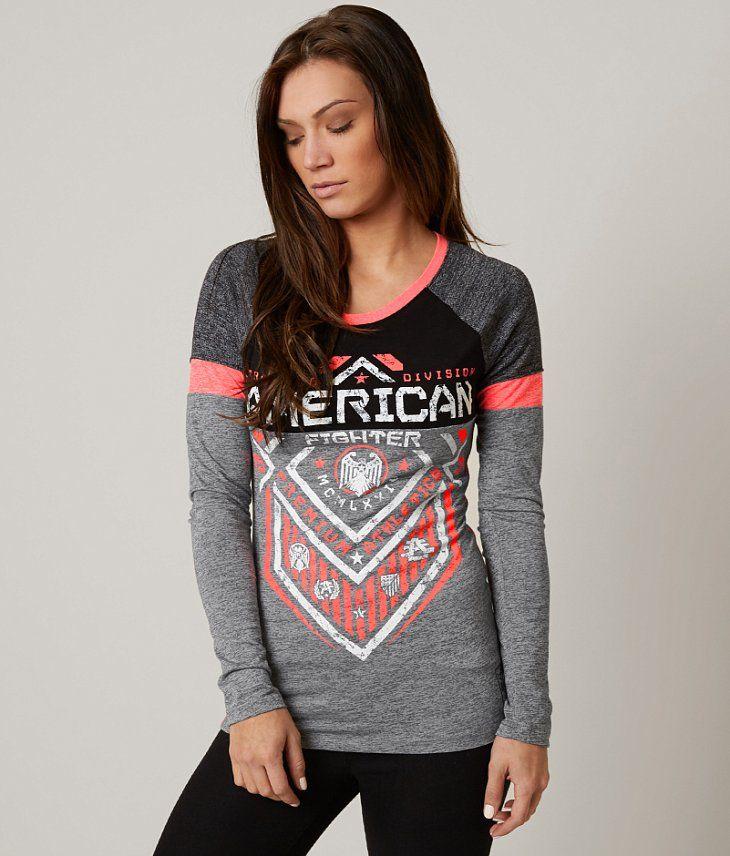 American Fighter North Dakota T-Shirt - Women's T-Shirts in Hthr Grey Blk Neon Coral | Buckle