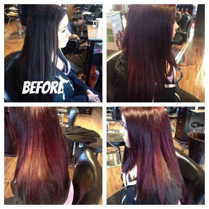 Client came in with dark brown /black & Adele transformed her into  a beautiful Ox Blood Red. #MatrixRed