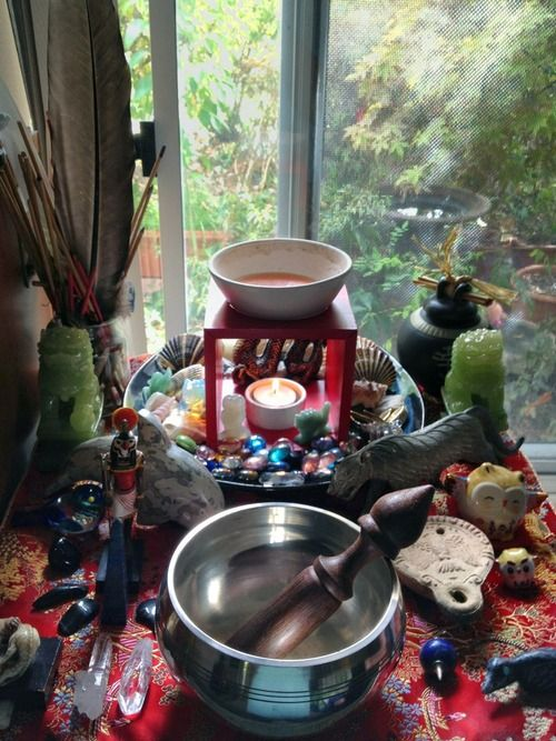 fox-ryoukou:  With my dearest sister ViperFox's permission; I'm posting a shot of her beautiful altar- of which I was privileged and honored enough to have her share, clean and even add things to while I was here for the Equinox  From Fuck Yeah Altars