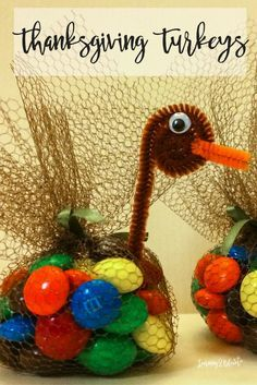 Thanksgiving DIY turkey table toppers. My kids love these candy turkeys each…
