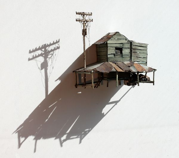 ianbrooks:    Miniature Dilapidations by Maarten Demmink  Made from wood, tin, and other salvaged materials… only lee-tle kinds… Maarten constructs these miniature sheds and power lines, aged well past their date of expiration and definitely home to some miniature hobos.    Artist:Behance/Website