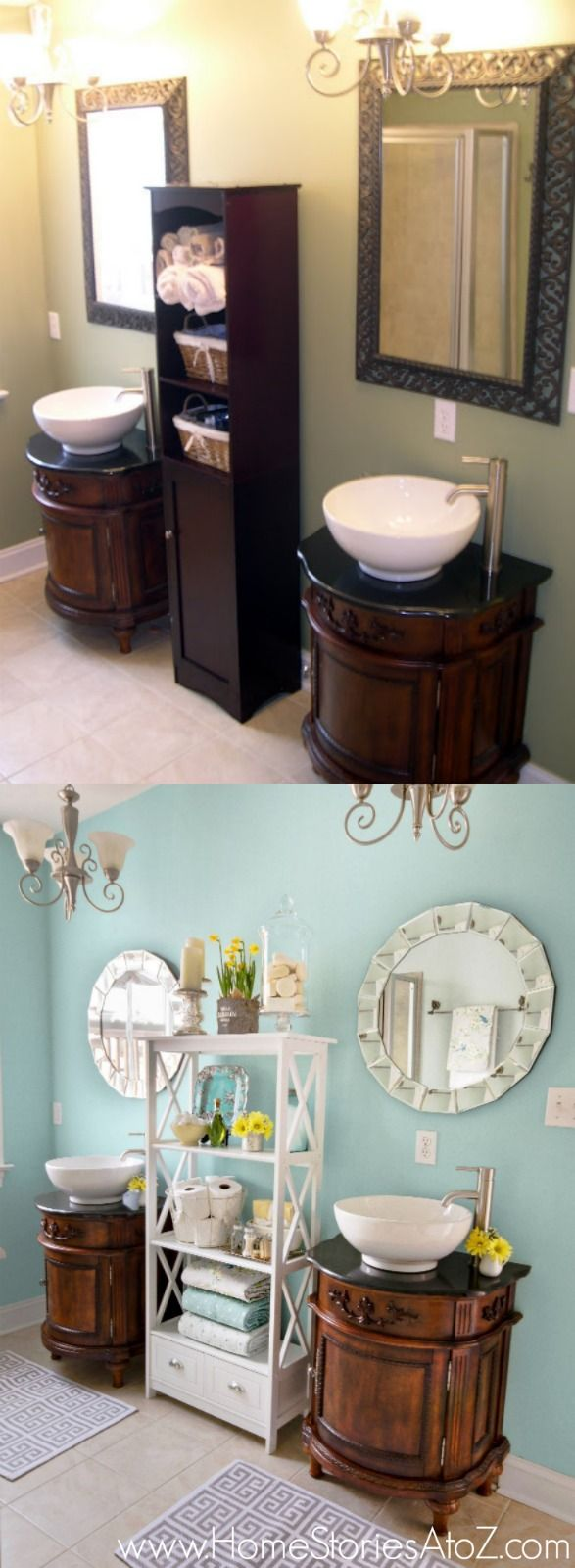 The power of paint. Bathroom makeover in Sherwin-Williams Watery. #swcolor @Beth Hunter @Sherwin-Williams