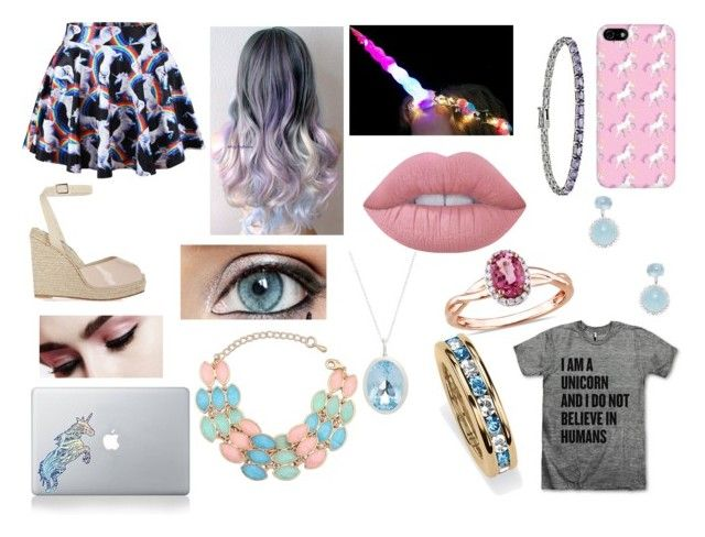 """UNICORN SQUAD UNITE!!!!"" by prettyflyforwifi ❤ liked on Polyvore featuring Vinyl Revolution, Oscar de la Renta, Vianna B.R.A.S.I.L, J. Valentine, Lime Crime, Augustine Jewels, Palm Beach Jewelry, Ice and Icz Stonez"