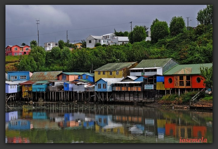 Chiloe- CHILE  Stilt houses in Chiloé, Chile's largest island and a national park.