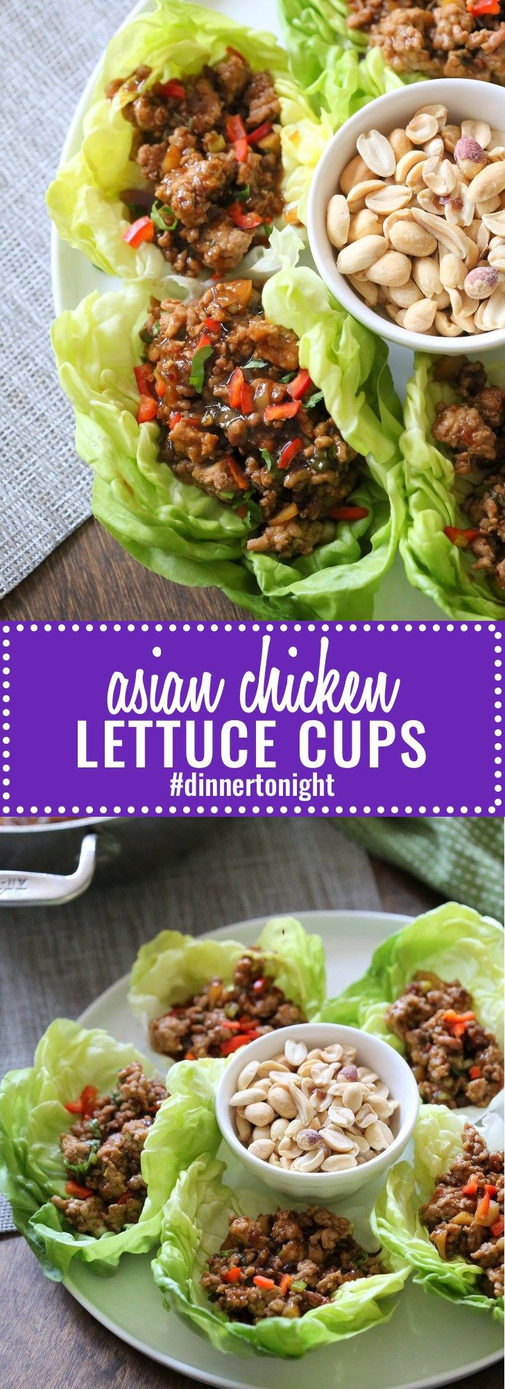 Asian Chicken Lettuce Cups- Super saucy chicken and vegetables in a tangy sweet sauce. Make ahead. Done in less than 30 minutes! #dinnertonight #lettucewraps