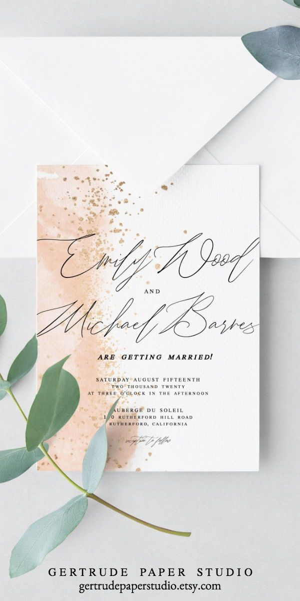 Pink Watercolor Wedding Invitation Shabby Chic Invitation