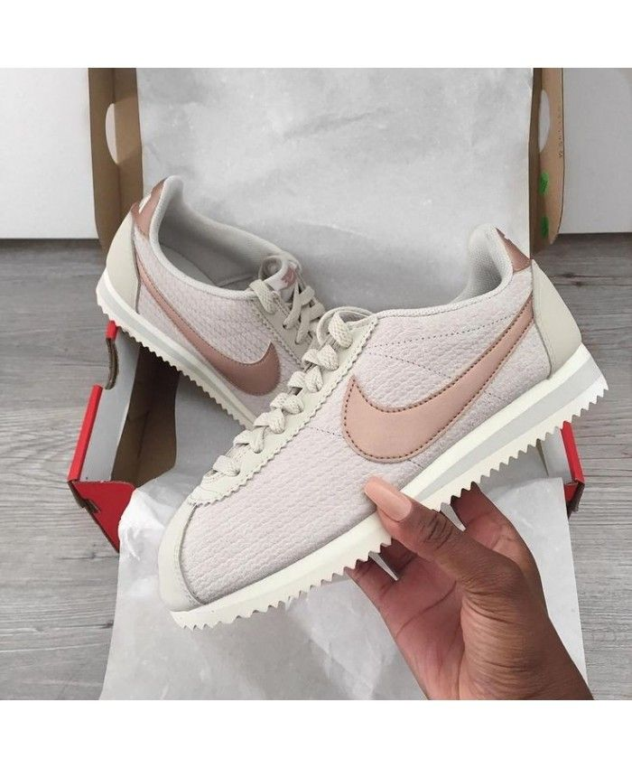 new concept 5a499 603fa Nike Cortez Trainers In White Rose Gold