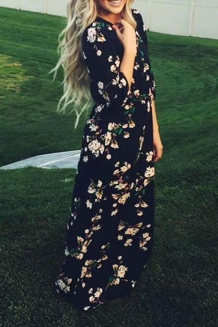 Blue Printed Floral Full Length Maxi Dress Spring Fashion Outfit Idea