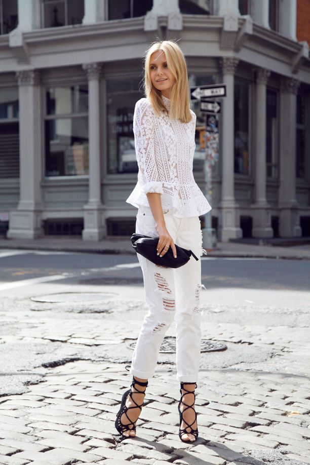 White Boyfriend Jeans Outfit Inspiration. #whitejeans #boyfriendjeans #denim #repeatoffender #howtostyle #howtowear #ootd #outfitinspiration #tuula #lace