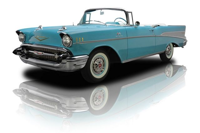1957 Turquoise Chevrolet Bel Air Convertible 283 FI 3 Speed