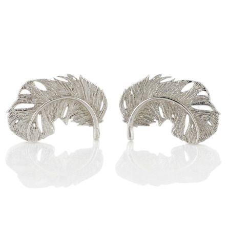 Image of FEATHER STUD EARRINGS SILVER