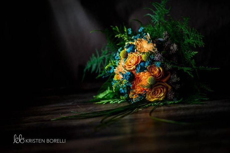 Orange and Blue Wedding Bouquet  (Kristen Borelli Photography, Golden Wedding Photographer, Vancouver Island Wedding Photographer, Prince George Wedding Photographer, Heather Mountain Loddge Wedding Photographer, Nanaimo Wedding Photographer, Victoria Wedding Photographer)