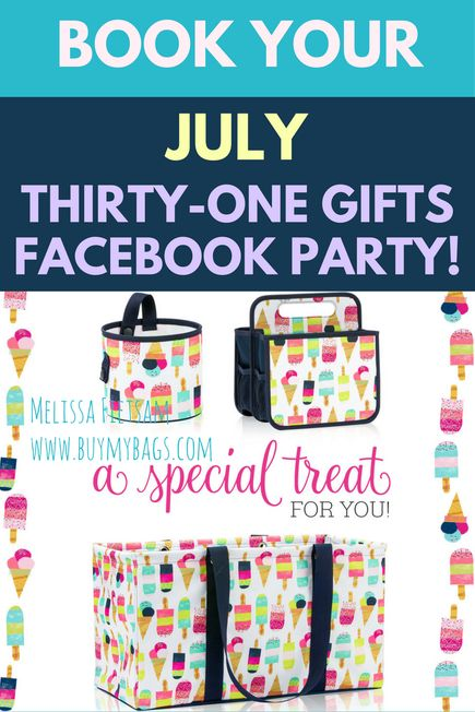 Check out the July Thirty-One Gifts Customer Special for 2017!    Everyone loves our Thirty-One Thermal Tote line. And in June, they're all 50% off!    Only in July, get up to two functional styles for $5 or $10. Choose from the    Mini Zipper Pouch  Oh-Snap Bin  Double Duty Caddy  Swap-It Pocket  Plus, only in July, save on the exclusive Get the Scoop Bowl Set for $15  with any $35 purchase!    Order yours today at www.buymybags.com