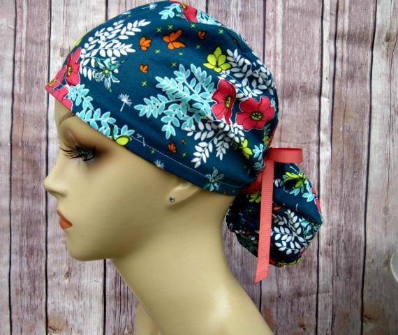 Ponytail scrub Hat custom