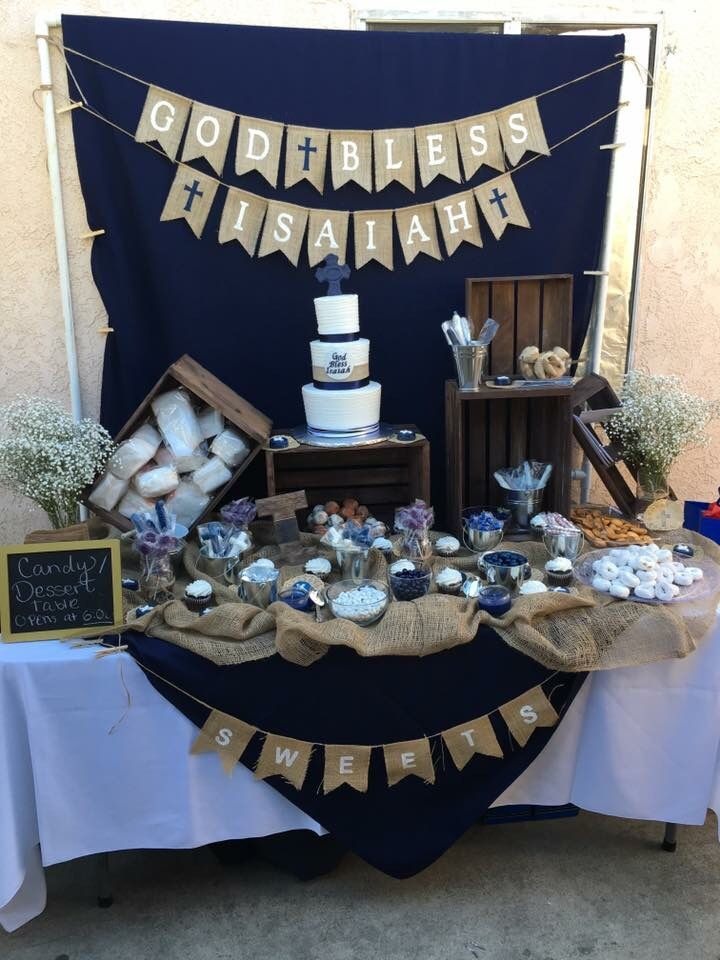 Isaiahs First Communion Dessert Table First Communion Decorations First Communion Party Holy Communion Party