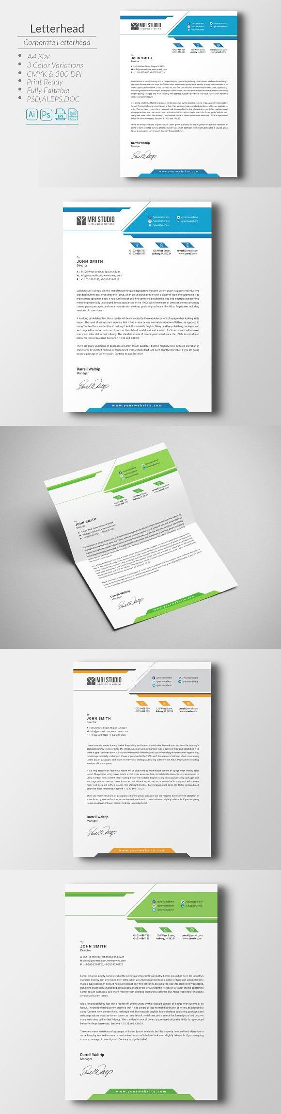 Corporate Letterhead. Stationery Templates