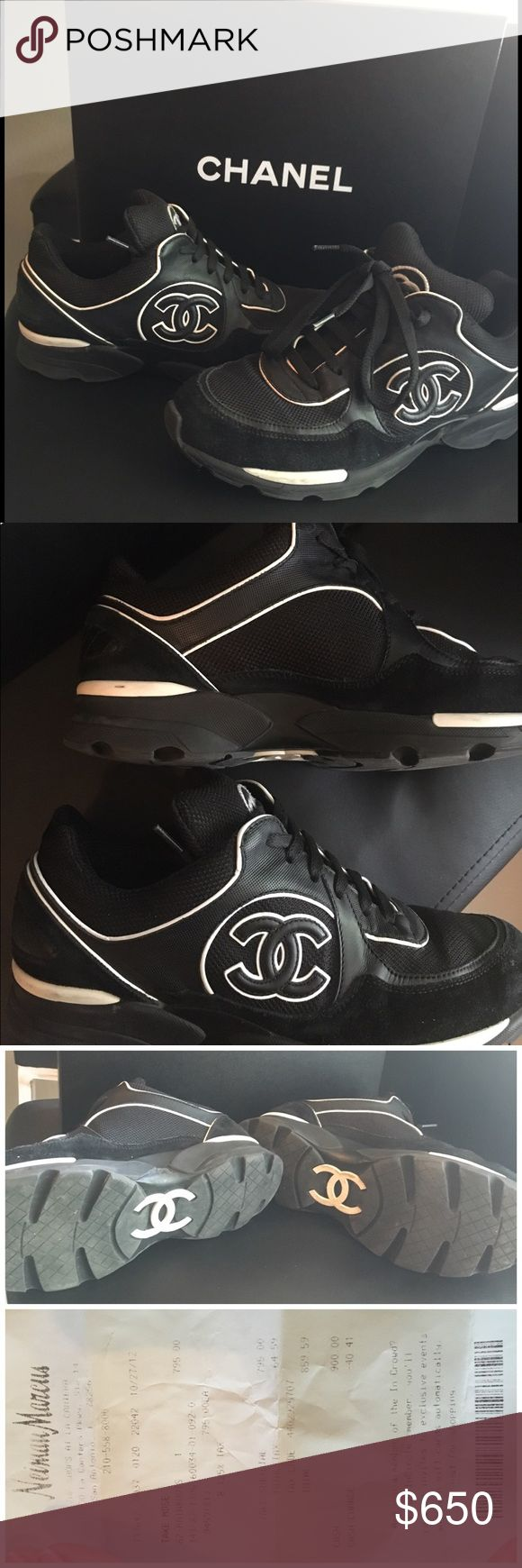 Chanel Tennis shoes authentic Great condition (Auth) Chanel Tennis shoes. Bought them them at Neiman Marcus, box and receipt included. (I have to look for the dust bag though) small mark on the shoe see seconds picture. Worn only 4-5 times since purchase. Hard to find! I am pregnant so my feet are swollen, I can't try them on. NO TRADES, please use offer button! CHANEL Shoes Sneakers