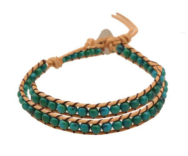 Double bracelet made of leather 2mm. Beaded bracelet with turquoise 4mm and steel clasp. You can also wear it to the neck like a choker necklace - Διπλό δερμάτινο βραχιόλι φτιαγμένο από στρογγυλές πέτρες τιρκουάζ 4mm δεμένες σε φυσικό δέρμα 2mm. Το βραχιόλι τυλίγεται στο χέρι διπλό και καταλήγει σε οβάλ ατσάλι που κουμπώνει σε θηλιά. Μπορεί να φορεθεί μονό και στο λαιμό σαν τσόκερ.