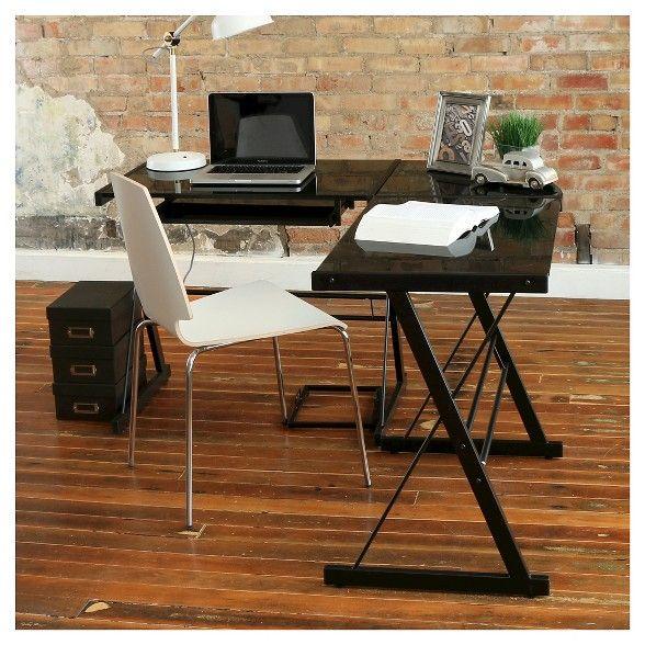 Glass L Shaped Computer Desk With Keyboard Tray Saracina Home Glass Corner Desk Computer Desks For Home Corner Computer Desk