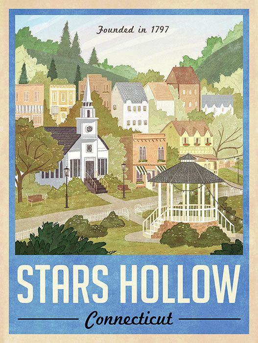 Stars Hollow Poster - Vintage Travel Poster - Inspired by Gilmore Girls (Blue…