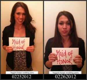 Before and after bachlorette party pics! haha, this is great! Another idea: make it like a mugshot and have an offense ie. ten-too many shots.