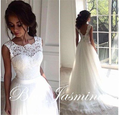 Sexy Lace Sleeveless A-Line Wedding Dress Bridal Gown Custom Made Plus Size 2-28