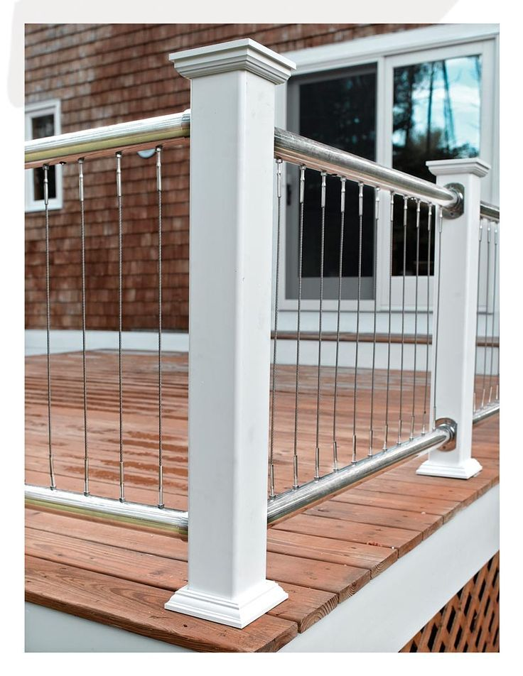 Cable Deck Railing Ideas See 100s of Deck Railing Ideas http://awoodrailing.com/2014/11/16/100s-of-deck-railing-ideas-designs/