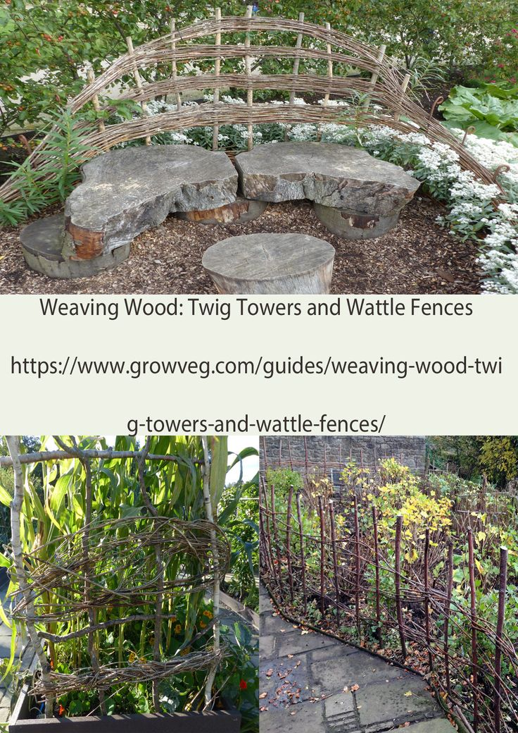 How to make woven structures for your garden out of your left over prunings. Save money on plant supports and fencing and add a rustic element to your planting scheme https://www.growveg.com/guides/weaving-wood-twig-towers-and-wattle-fences/