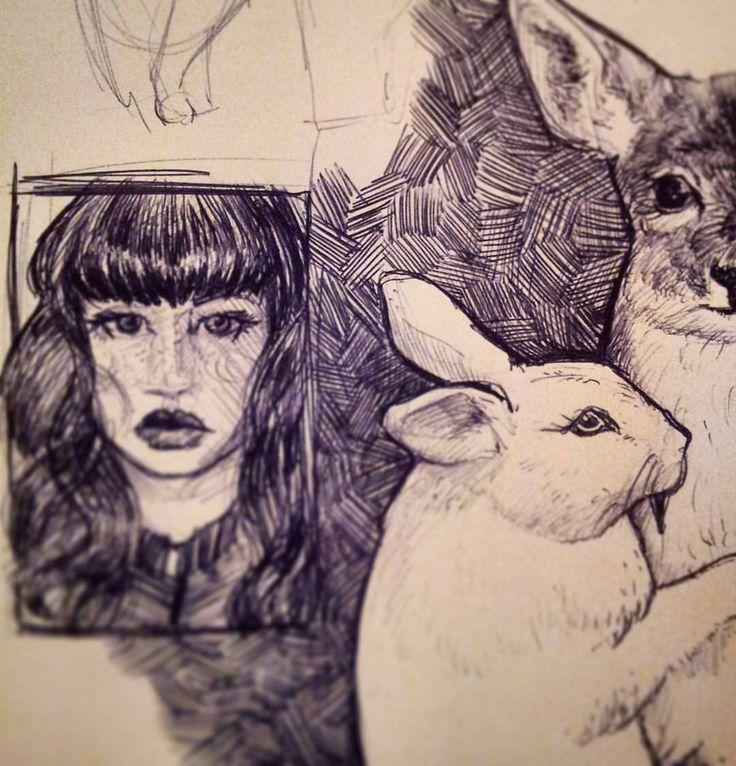 My pen finally ran out of ink. #vampirebunny #ohdear #ohdeer #deer #vampire #fangs #sketch #draw #art #bunny #doe #inktober