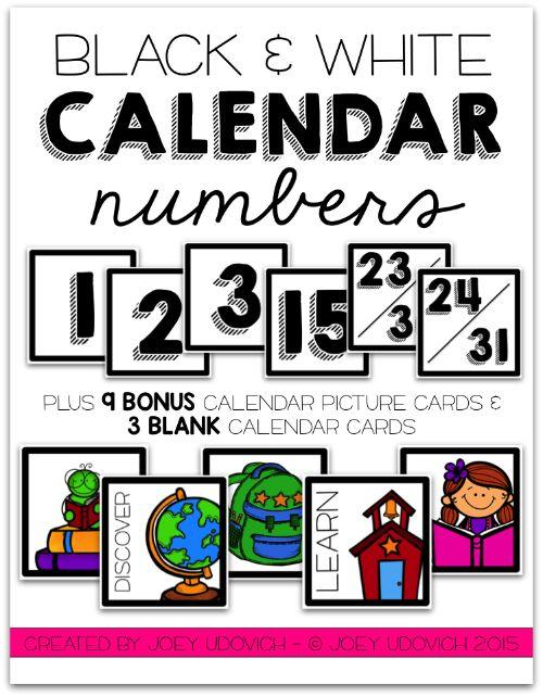 Calendar Organization Number : Calendar numbers black and white