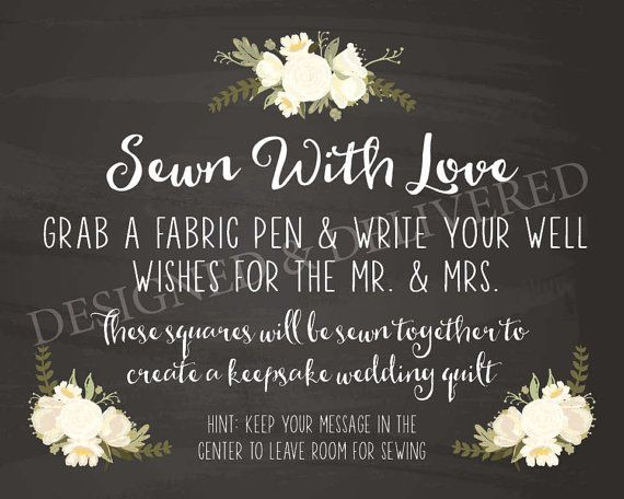 DIY PRINTABLE 8 X 10 Sewn With Love Wedding Quilt Guestbook Sign For Guest Keepsake Unique Ideas