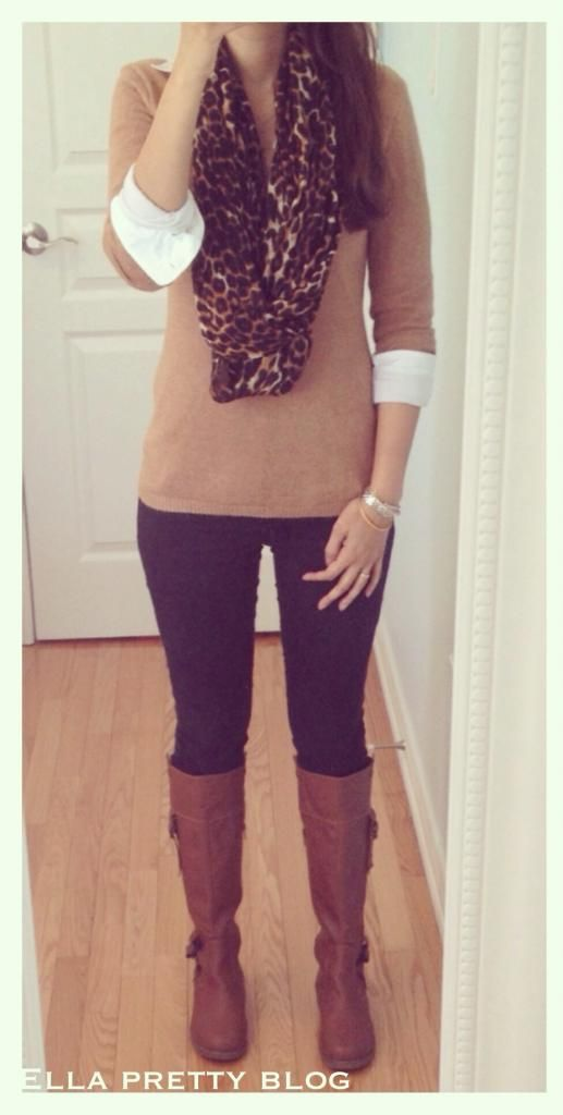 Ella Pretty: Leopard Scarf, Camel Sweater, Black Jeans & Tan Boots. I generally disagree with mixing black and brown for my complexion, but this one would work!!